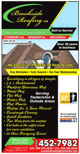 Brookside Roofing Yellow Pages print ad 2